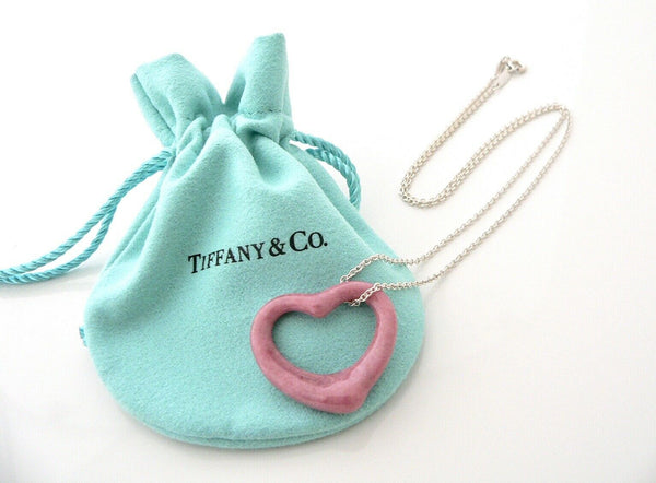 Tiffany & Co Peretti Silver Large Pink Open Heart Necklace Pendant 18 Inch Chain