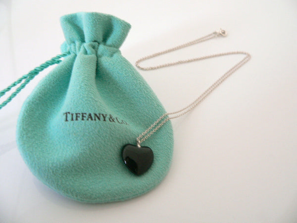 Tiffany & Co Silver Onyx Heart Necklace Pendant 20 In Chain Gift Pouch Gemstone