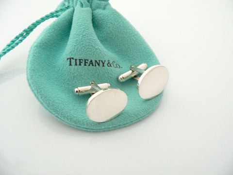 Tiffany & Co Silver Oval Cuff Links Cufflinks Engravable Personalize Gift Pouch
