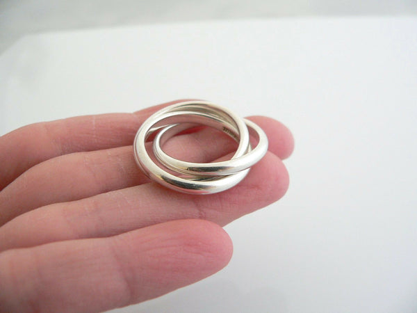 Tiffany & Co Silver Triple Rolling Stacking Ring Band Sz 4.75 Rare Interlocking