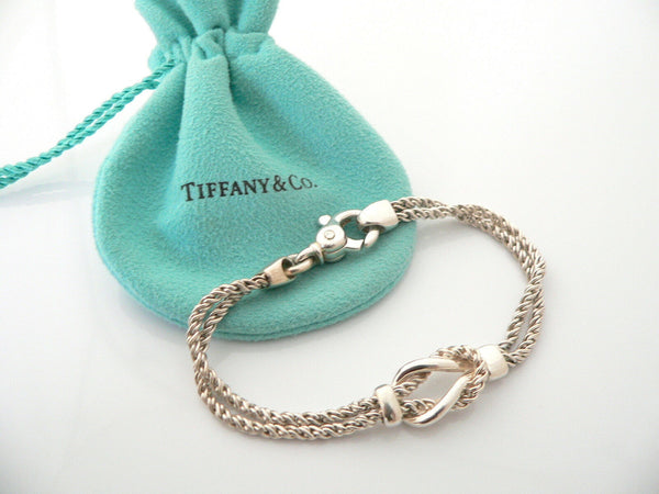 Tiffany & Co Silver Double Rope Knot Bracelet Bangle Rare 7.5 In Gift Love Pouch
