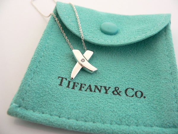 Tiffany & Co Silver Diamond Picasso X Kiss Necklace Pendant Charm 17 Inch Gift