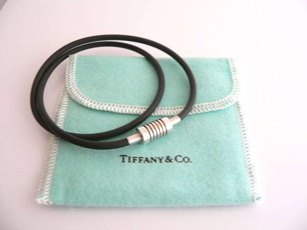 Tiffany & Co Silver Picasso Groove Rubber Surfer Necklace 17 In Chain Gift Pouch