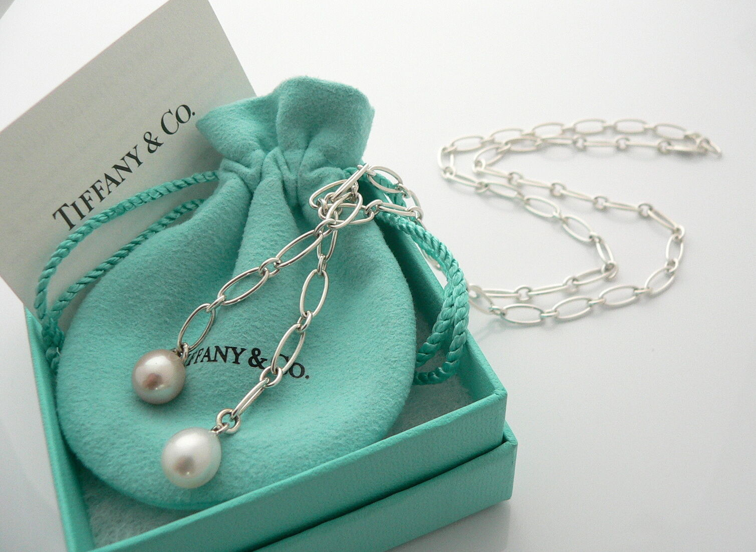 Tiffany & Co Pearl Necklace Tassel Link 25 inches Silver Pink White Gift Rare