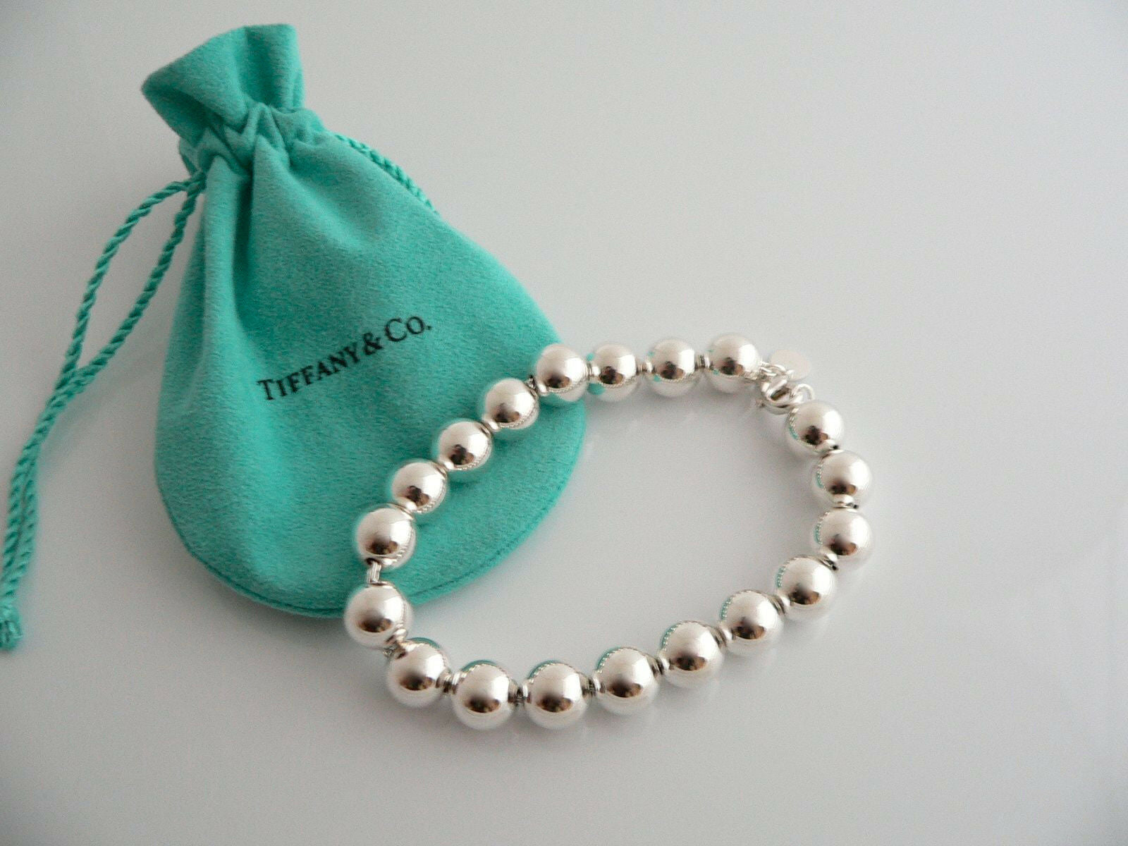 Tiffany & Co Silver Ball Bead Bracelet Bangle 8.3 Inch Longer Length Gift Pouch