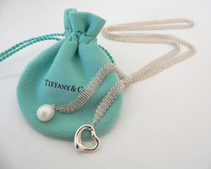 Tiffany & Co Open Heart Pearl Necklace Pendant Charm 25 Inch Mesh Gift Pouch