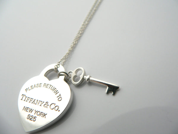 Tiffany Co Silver Return to Tiffany Heart Key Necklace Pendant Charm Gift Love