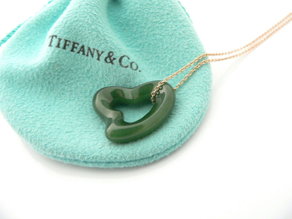 Tiffany & Co 18K Gold Large Jade Gemstone Heart Necklace Pendant Gift Love Pouch