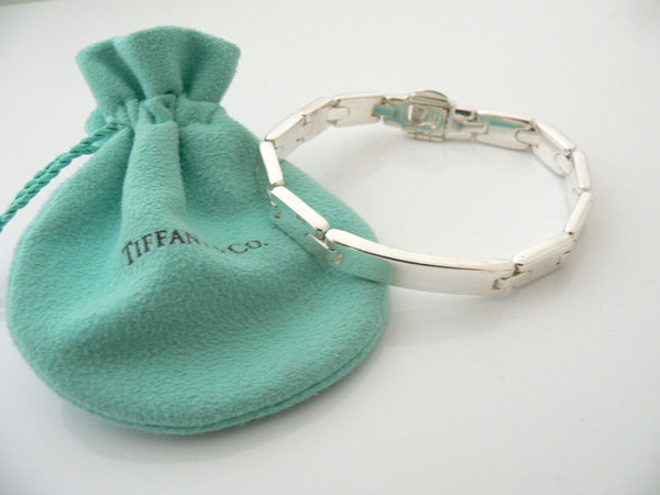 Tiffany & Co Silver Rectangle ID Link Bracelet Bangle Gift Pouch Personalize