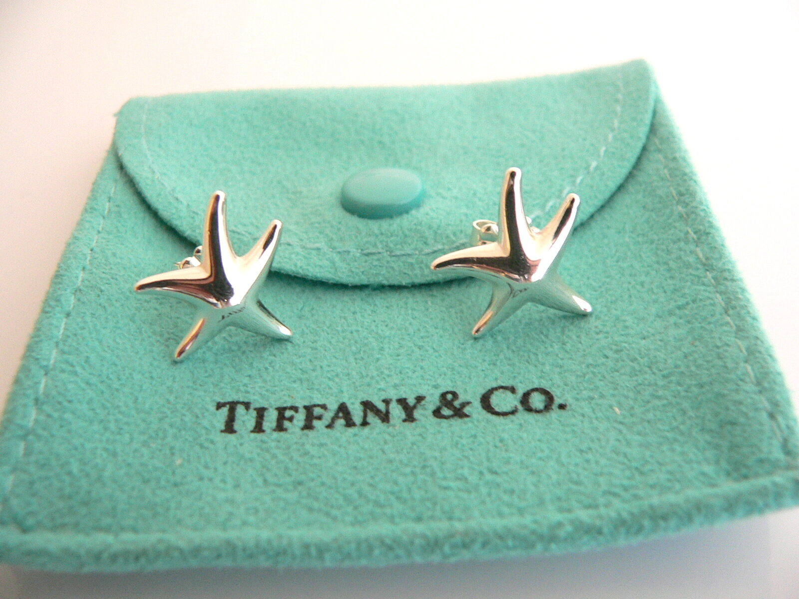Tiffany & Co Peretti Silver Starfish Star Fish Earrings Studs Gift Pouch Love