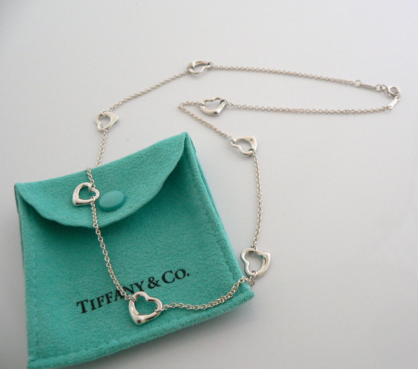 Tiffany & Co Silver Peretti 7 Open Heart Necklace Pendant Charm Chain Gift Pouch