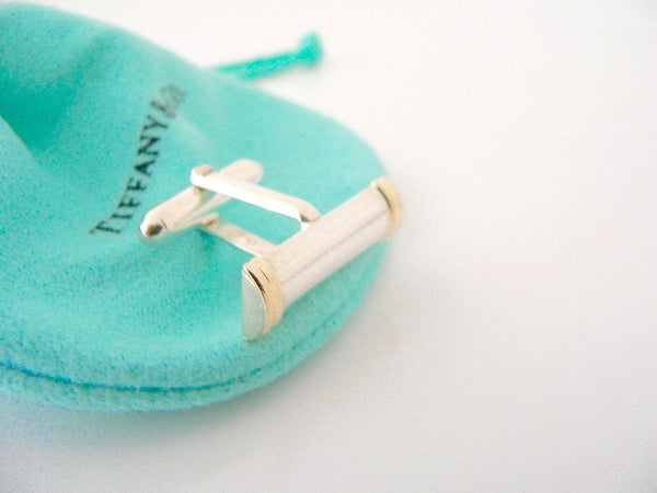 Tiffany & Co Silver 18K Gold Column Bar Cuff Link Cufflink Cufflinks Gift Love