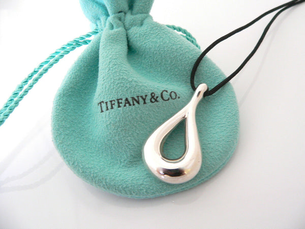 Tiffany & Co Silver Peretti Large Tear Drop Charm Pendant Necklace Cord Gift Art