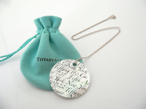 Tiffany Co Silver Mother of Pearl Large Notes Necklace Pendant 19 In Chain Pouch