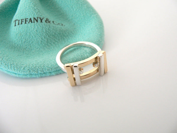 Tiffany & Co Silver 18K Gold Gehry Axis Ring Band Sz 6 Rare Gift Pouch Love