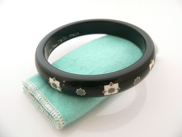 Tiffany & Co Picasso Zellige Black Lacquer Bangle Bracelet Rare Gift Pouch