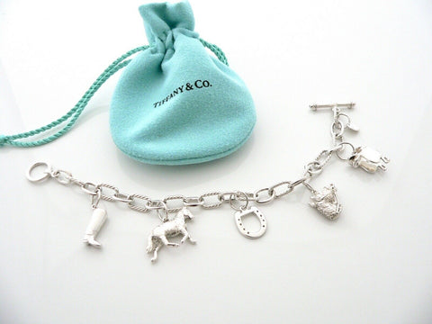 Tiffany & Co Silver Horse Saddle Boot Equestrian Charm Bracelet Gift Pouch Love