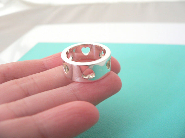 Tiffany & Co Silver Heart Stencil Cut Out Ring Band Sz 5.25 Gift Love Statement