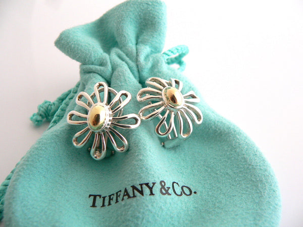 Tiffany & Co Picasso Large 18K Gold Silver Daisy Flower Earrings Studs Gift Love