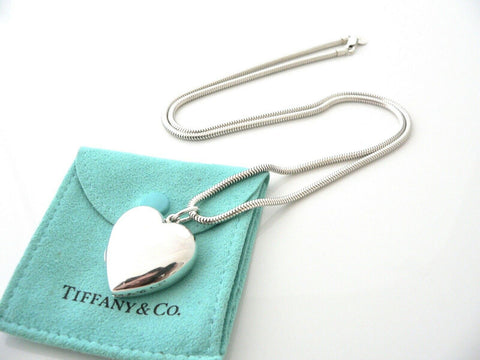 Tiffany & Co Silver Large Heart Locket Necklace Pendant 24 Inch Chain Pouch Love