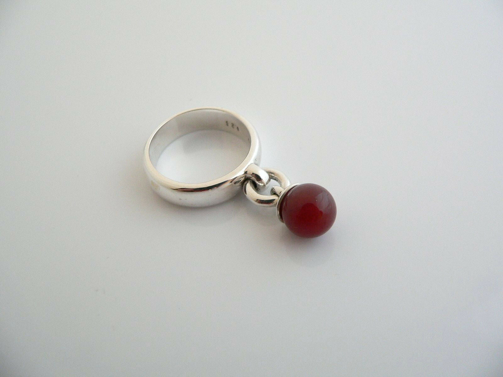 Tiffany & Co Silver Carnelian Fascination Dangling Dangle Ring Band Sz 6.25 Gift