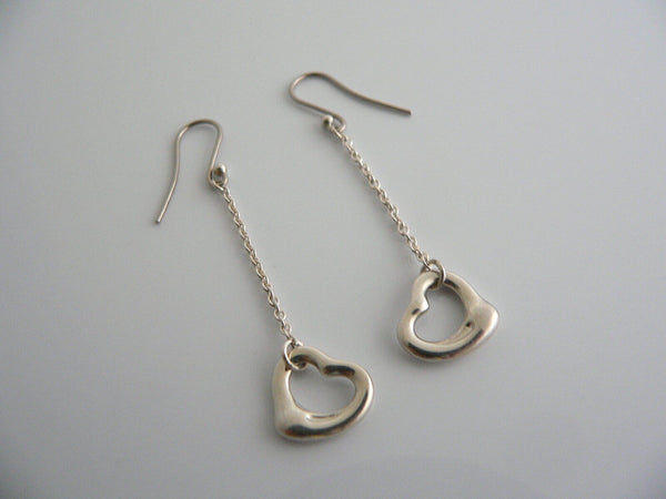Tiffany & Co Silver Peretti Open Heart Dangle Dangling Earrings Love Gift