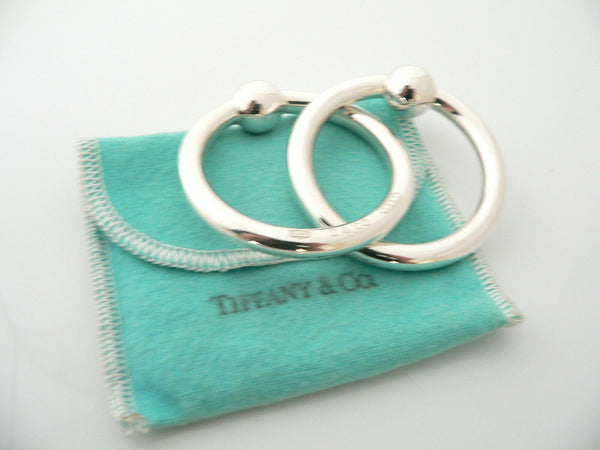 Tiffany & Co Silver 1837 Double Circle Baby Rattle Teether Rattle Gift Pouch