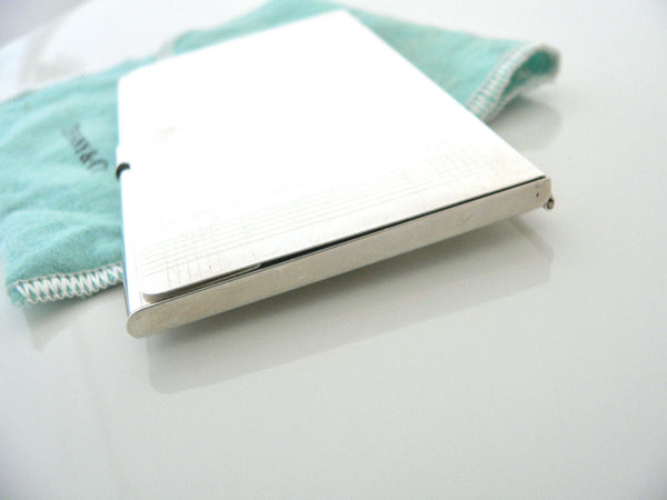 Tiffany & Co Engine Turned Stripe Business Card Case Holder Office Gift Pouch