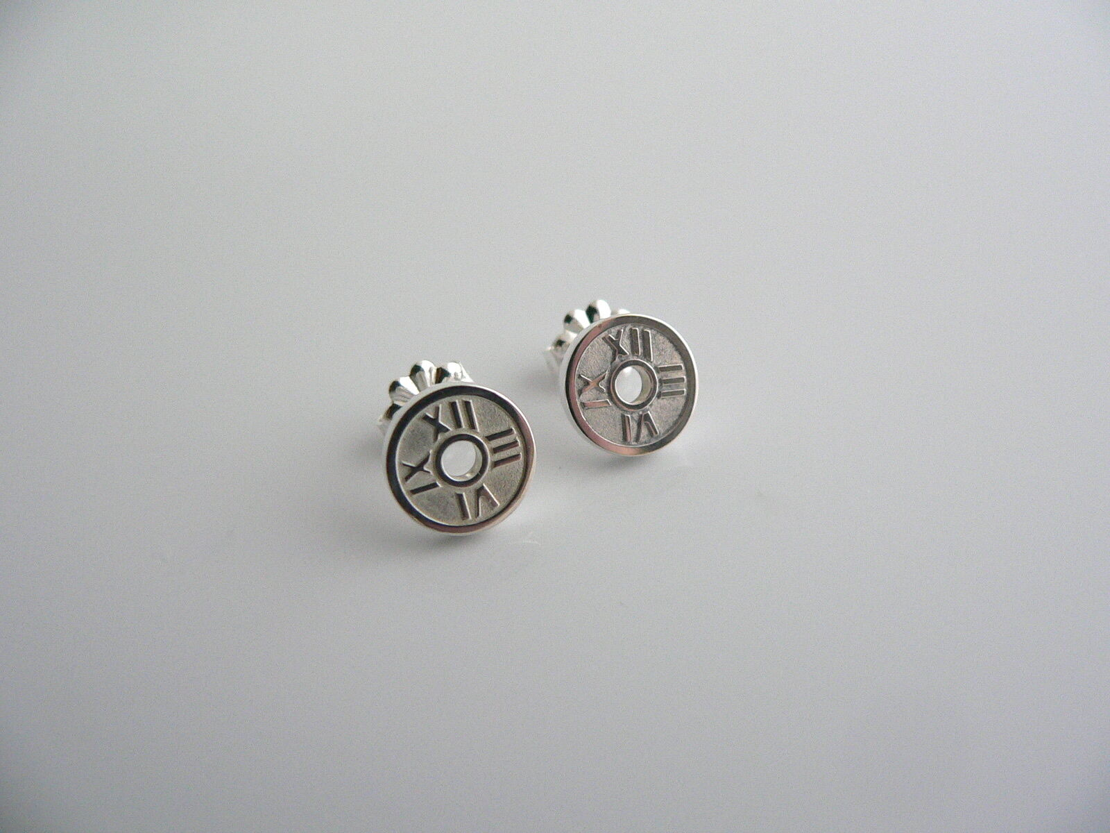 Tiffany & Co  Silver Atlas Circle Round Earrings Studs Rare Gift