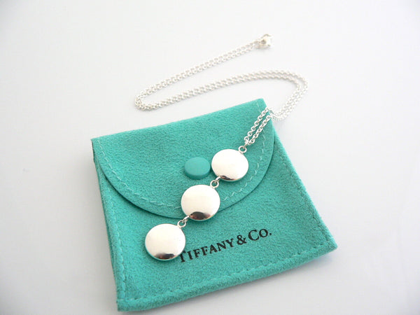 Tiffany Co Silver Triple Disc Circle Drop Dangle Dangling Necklace Gift Pouch