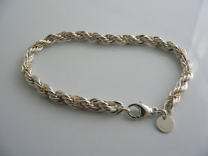 Tiffany & Co Silver 18K Gold Rope Bracelet Bangle Chain Gift Love Rare