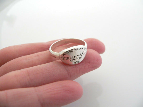 Tiffany & Co Return to Silver Oval Tag Ring Band Sz 5 Gift Love Statement