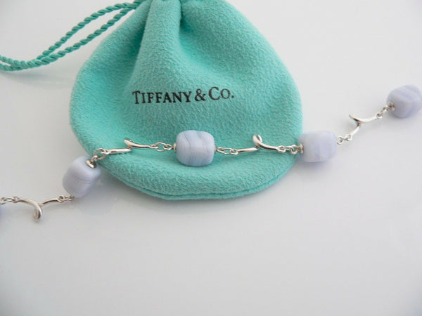 Tiffany & Co Silver Blue Chalcedony Bracelet Bangle Gemstone Gift Pouch Love