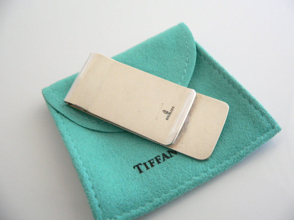 Tiffany & Co Silver Textured Money Clip Holder Rare Gift Pouch Engravable Love