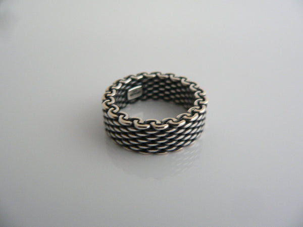Tiffany & Co Silver Mesh Stacking Ring Band Sz 4.75 Love Gift Oxidized
