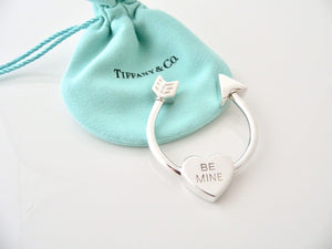 Tiffany & Co Silver Heart Arrow Be Mine Key Ring Keyring Keychain Gift Love Art