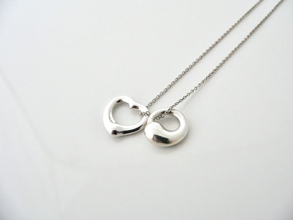 Tiffany & Co Silver Open Heart Eternal Circle Pendant Necklace Chain Gift Love