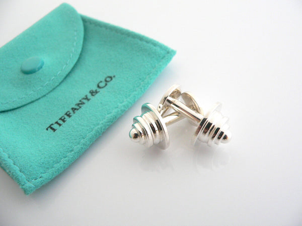Tiffany & Co Silver Picasso Tiered Round Cuff Link Cufflink Cuff Links Gift Love
