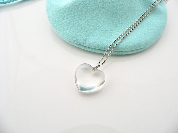 Tiffany & Co Crystal Puff Heart Necklace Pendant Charm Chain Silver Gift Pouch