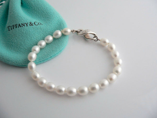 Tiffany & Co Silver Infinity Figure 8 Pearl Bracelet Bangle Rare Gift Pouch Love