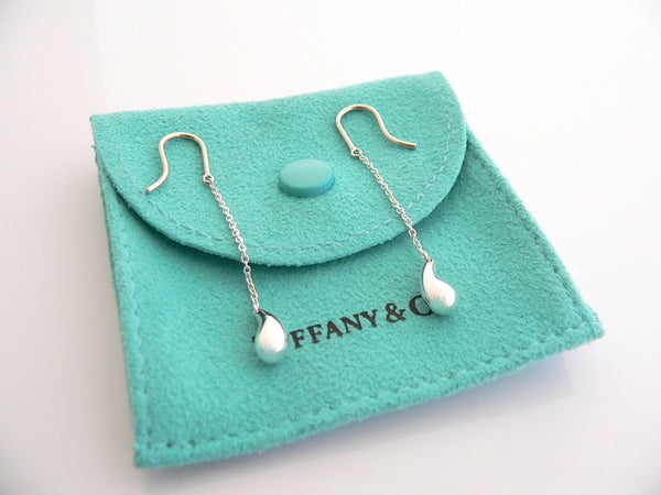 Tiffany & Co Silver Peretti Teardrop Dangling Dangle Earrings Rare Gift Pouch