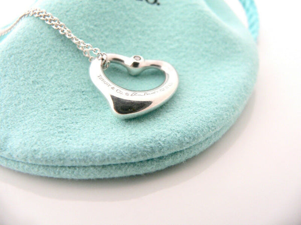 Tiffany & Co Silver Peretti Diamonds Open Heart Necklace Pendant Charm Love Gift