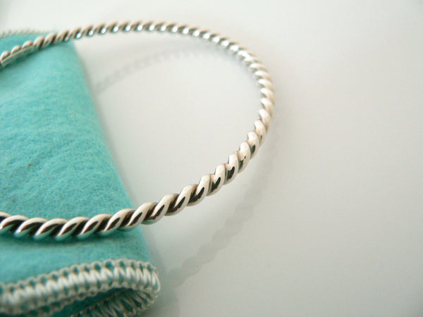 Tiffany & Co Silver Twist Twirl Swirl Bangle Bracelet Gift Pouch Love Statement