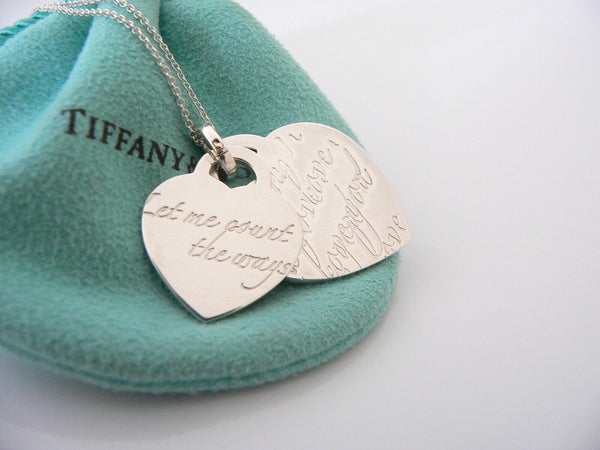 Tiffany & Co Silver Let me Count the Ways I Love You Heart Necklace Pendant Gift