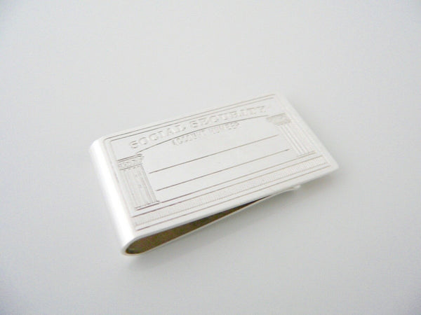 Tiffany & Co Silver Social Security Money Clip Moneyclip Holder Retirement Gift