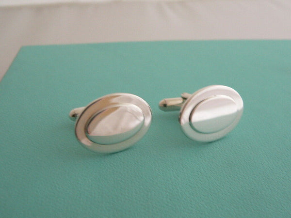 Tiffany & Co Silver Oval Cuff Link Cufflinks Engravable Personalize Gift Love