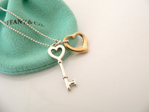 Tiffany Co Silver 18K Gold Open Heart Key Necklace Pendant Charm Chain Gift Love