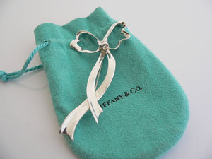 Tiffany & Co Silver Large Ribbon Bow Brooch Pin Rare Love Gift Pouch