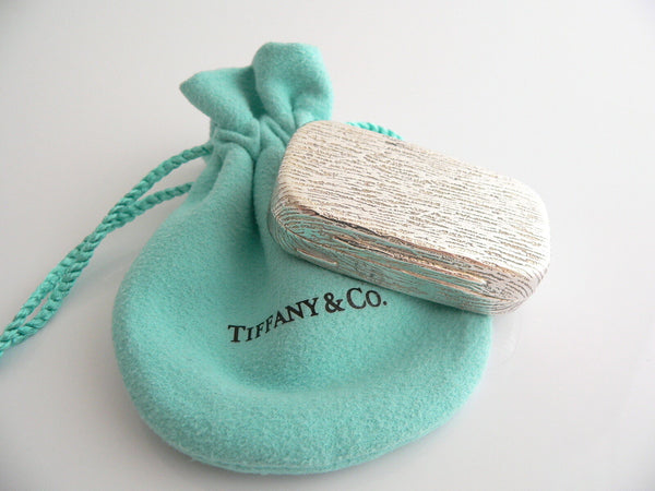 Tiffany & Co Silver Textured Wood Rectangle Pill Box Case Rare Gift Pouch