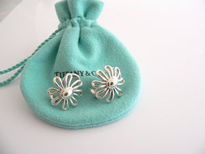 Tiffany & Co Picasso Large Silver Daisy Flower Earrings Studs Gift Pouch Huge